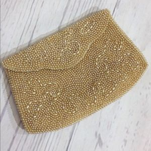 Handbags - Vintage Beaded Clutch Japan Cream